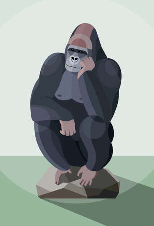 Brooding gorilla sits on a stone with his head on his hand, stylized image