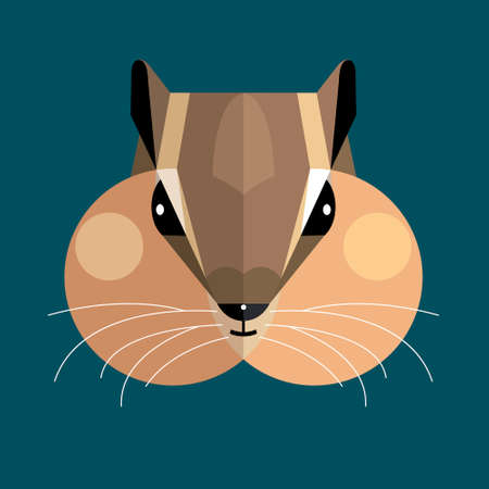 Chipmunk (ground-squirrel) with cheek pouches filled with food on a blue background, stylized image
