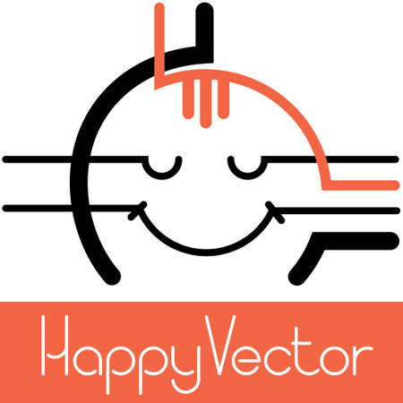 Vector illustration of a smiling happy man with a red forelock. This is how creativity brings satisfaction and happiness. Self-portrait. Ilustrace