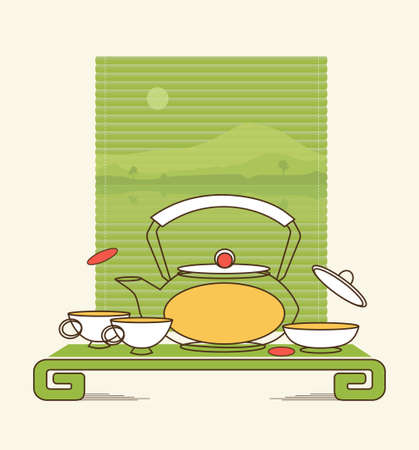 The traditional oriental tea ceremony comes from ancient times. It is still the hallmark of China and Japan. Stylized image, vector illustration.