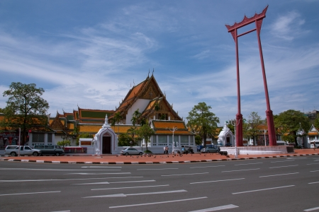 Giant Swing in front of Wat Suthat, which is in the Town Hall, Bangkok, Thailand  photo