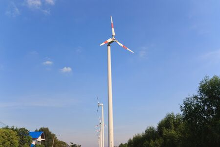 Wind turbines at Bang Poo Samutprakarn           Thailand Stock Photo - 16953397