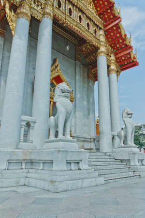 Lion Temple front of the church Benchamabophit Ratchaworawihan in Bangkok  photo