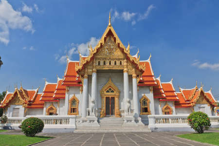 Front Buddhist temple of Wat Benchamabophit Ratchaworawihan in Bangkok  photo