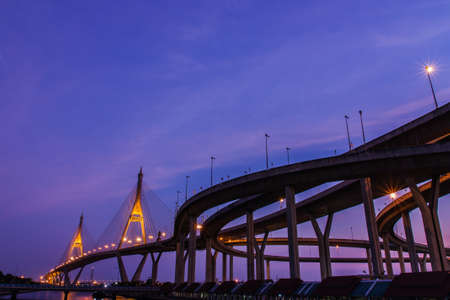 Sky with Expressway backlight  Industrial ring road the Chao Phraya River  photo