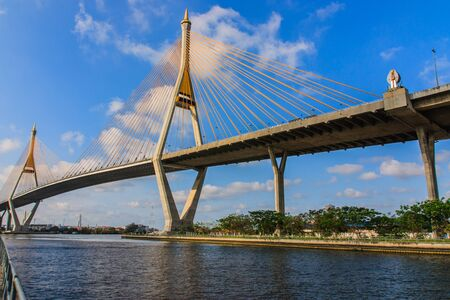 The bridge crosses the Chao Phraya River for industrial ring road  photo