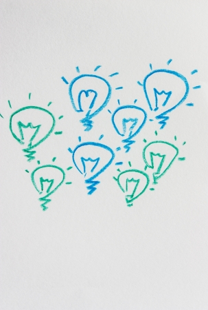 expressing positivity: Ideas, light bulb two colors  Stock Photo