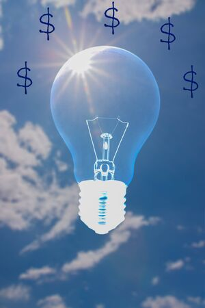 Ideas, symbols that make money from light bulb power source  photo