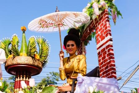 Uttaradit Thailand - NOVEMBER 23  A beautiful woman in a cultural parade  Thailand
