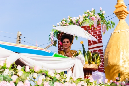 Uttaradit Thailand - NOVEMBER 23  A beautiful woman in a cultural parade  Thailand