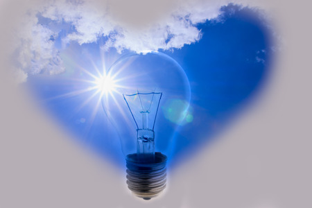 Idea, hearts, a light bulb with the power of nature photo
