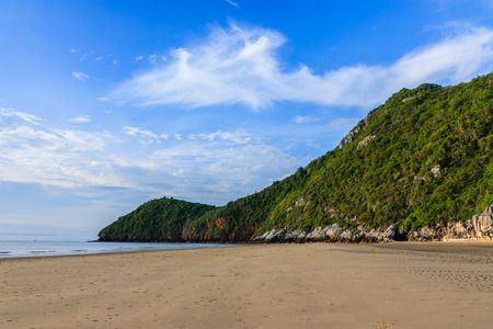 Mountain landscape with clouds on the blue sky in the morning on the beach  photo