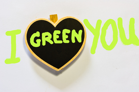 Green heart symbol on  wood  with white background,I Love You photo