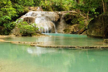 Erawan Waterfall National Park in Kanchanaburi Province, of Thailand  photo