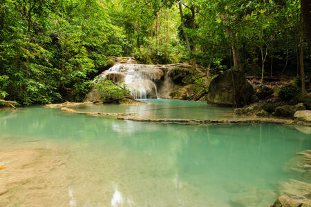 Erawan Waterfall National Park in Kanchanaburi Province, of Thailand  photo