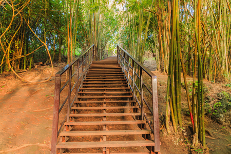 Wood walkway on a wild park to the  Waterfall Huay Mae Kamin, Thailand. photo