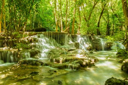 huay: Waterfall Huay Mae Kamin National Park in Kanchanaburi Province, Thailand.