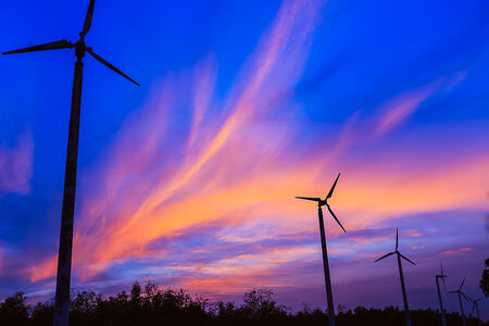 Beautiful sky with wind turbines. After sunset photo