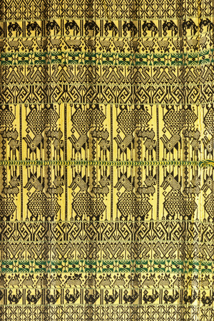Culture art form patterns on the blanket of northern Thailand. photo