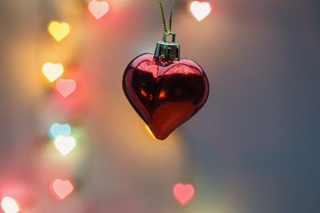 lighting background: Red Heart  with  heart-shaped lighting background