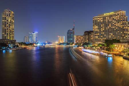 Modern cityscape  view of Bangkok at night, Thailand. photo
