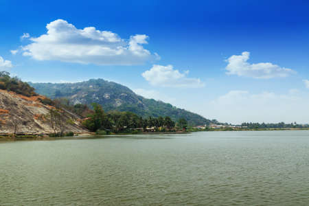 Mountain  landscape  and   river with blue sky   the in Prachuap Khiri Khan Province