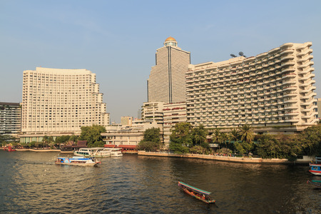 hotel building: Building hotel with ship and river in Bangkok, Thailand