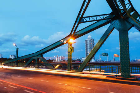 structural steel: Structural Steel Bridge At night in Bangkok