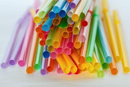 multi color: Multi Color flexible straws  on  white background Stock Photo