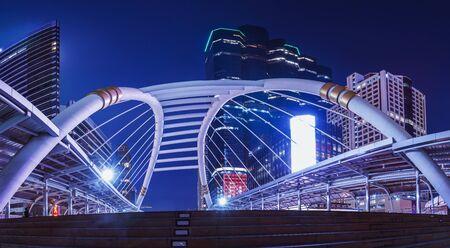 panoramas: Panoramas,Iron Bridge Park business district in Bangkok at night.