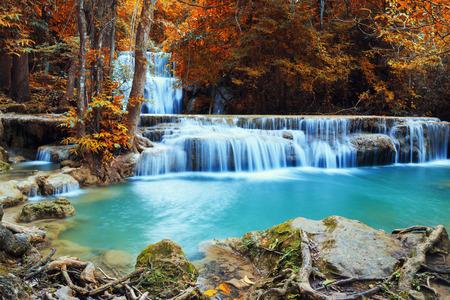clear water: Waterfall Huay Mae Kamin, beautiful waterfall in autumn forest, Kanchanaburi province, Thailand