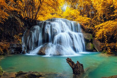 kamin: Waterfall Huay Mae Kamin, beautiful waterfall in autumn forest, Kanchanaburi province, Thailand