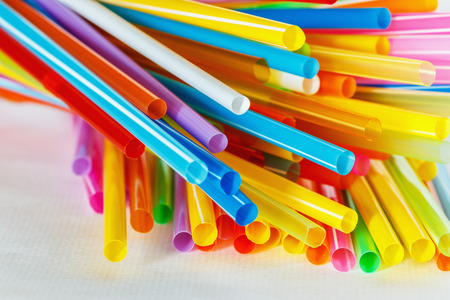 a straw: Multi Color flexible straws  on  white background Stock Photo