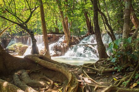 huay: Deep forest waterfall in national park ThailandWaterfall Huay Mae Kamin Stock Photo