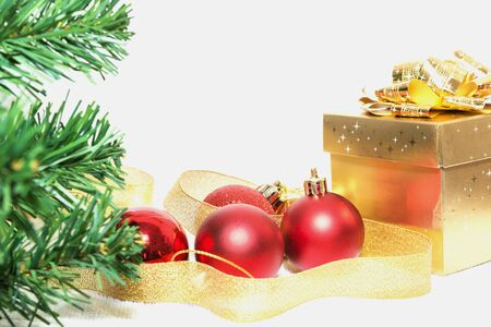 christmas decorations with white background: Christmas gift and christmas decorations on white background Stock Photo