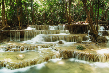 huay: Waterfalls Huay Mae Kamin in   national park forest ,Thailand