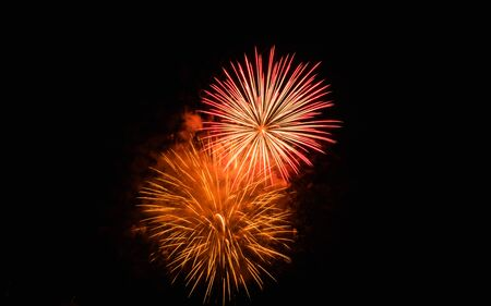 fireworks display: Fireworks Display on the sky in beautiful night at celebration Stock Photo