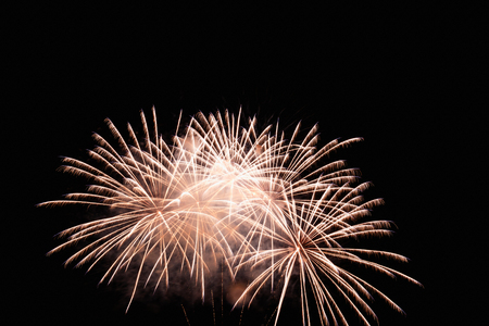 fireworks display: Fireworks Display white on the sky in beautiful night Stock Photo