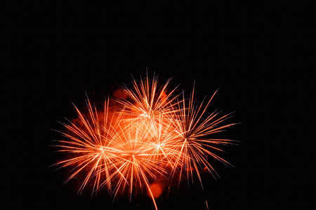 fireworks display: Fireworks Display red on the sky in beautiful night Stock Photo