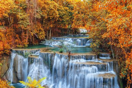 clear water: Waterfall Huay Mae Kamin beautiful ,with in autumn of forest