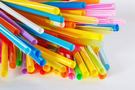 multi colorful: Multi Colorful flexible straws  on  white background