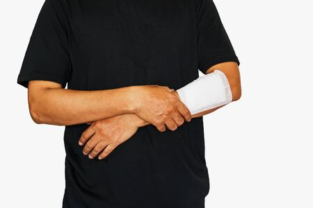 human body substance: Handle  Left arm of a male has been injured on white background