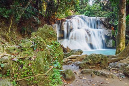 kamin: Waterfall Huay Mae Kamin of deep forest in summer of   Thailand