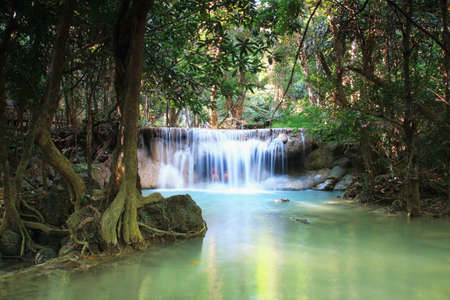 kamin: Waterfall Huay Mae Kamin in deep forest  with beautiful , in Thailand