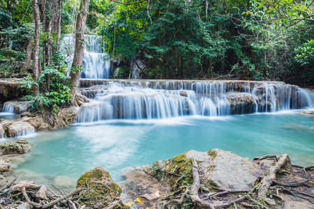 kamin: Deep forest waterfall in national park Thailand(Waterfall Huay Mae Kamin) Stock Photo