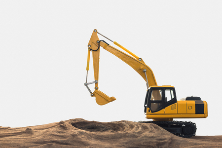 Excavator model on wooden with white background Stock Photo