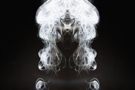White smoke shape on a dark backgrounds Archivio Fotografico