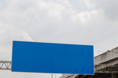 industrail: Billboards empty with blue colors on the steel structure