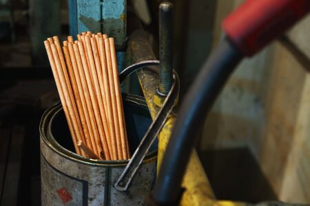 Gouging carbon electrode rods,Used in industrial metal steel in can Stock Photo