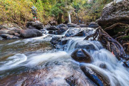 Headwaters River and Waterfall small in national park Stock Photo